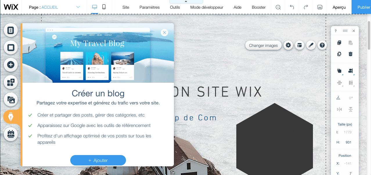 Onglet pour ajouter un blog à un site Wix
