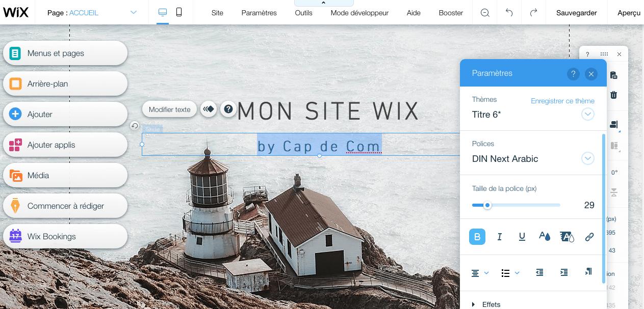 Page d'édition de Wix