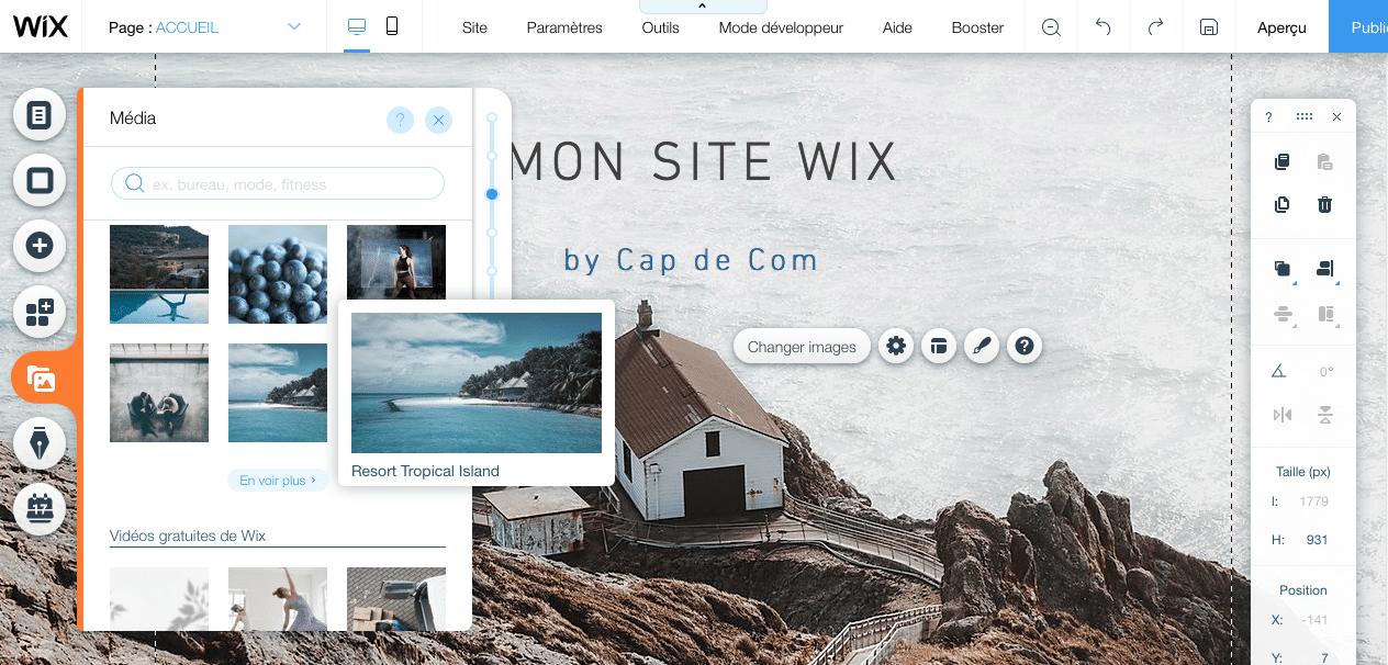 Bibliothèque d'images et de vidéos proposée par l'éditeur en ligne Wix