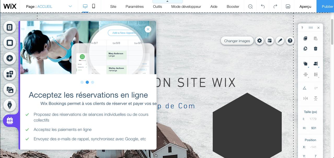 Wix Booking, modèle de réservation de l'éditeur Wix