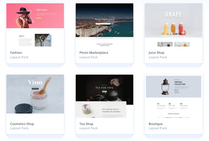 Templates ou modèles de page proposé par le thème Divi