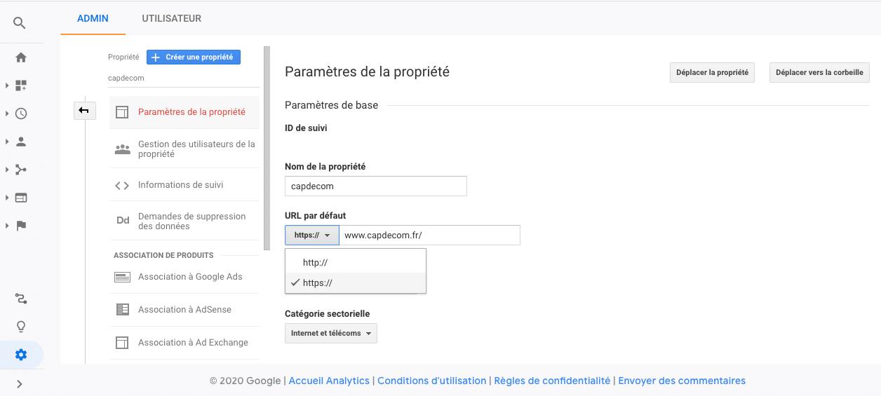 Changer HTTP pour HTTPS dans Google Analytics