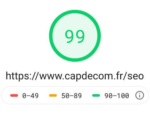 Test de vitesse du site Cap de Com sur Page speed Insights