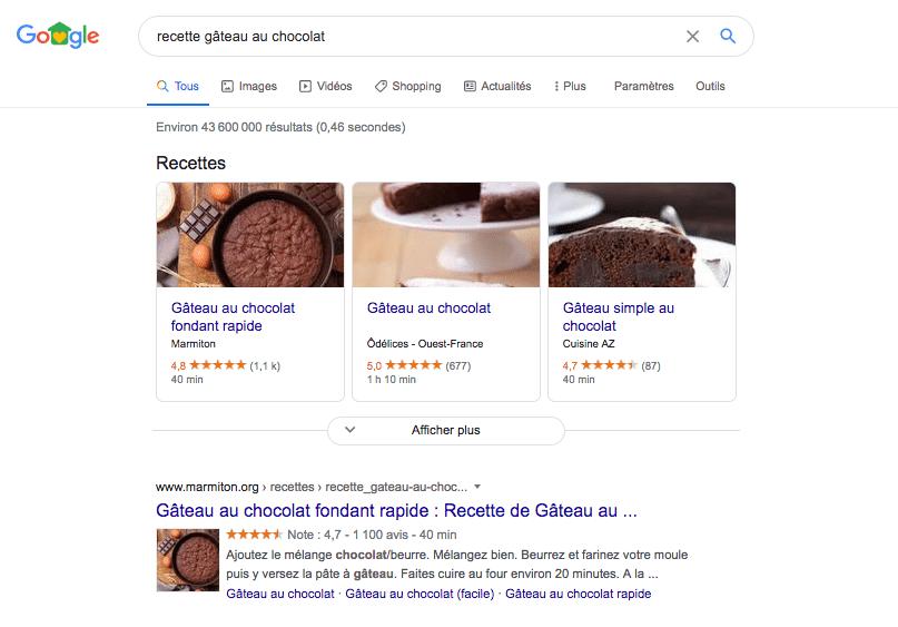 Rich Snippets associées à la recherche gâteau au chocolat