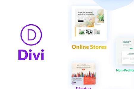 Logo de Divi et exemples de templates