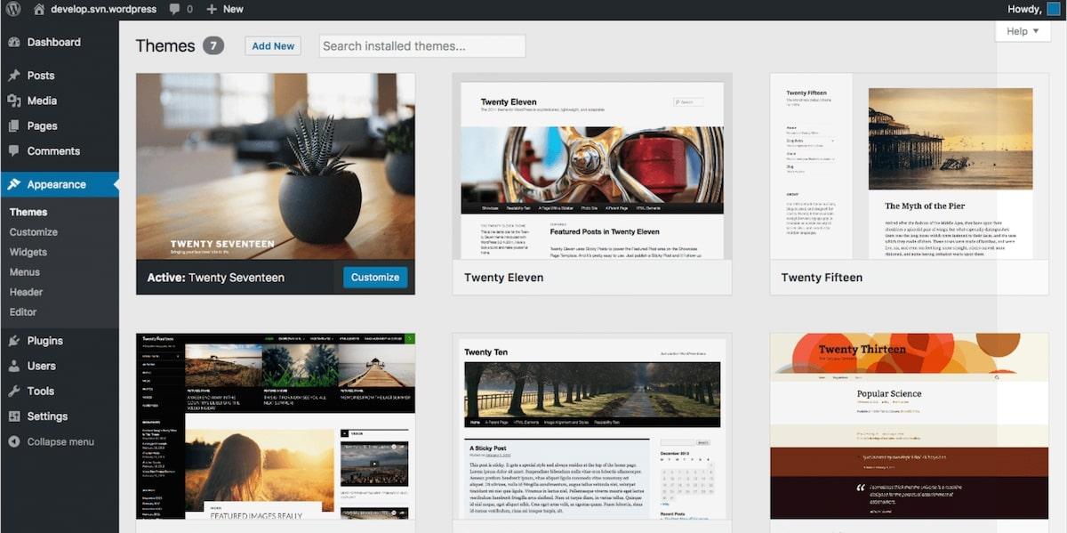 Interface de WordPress